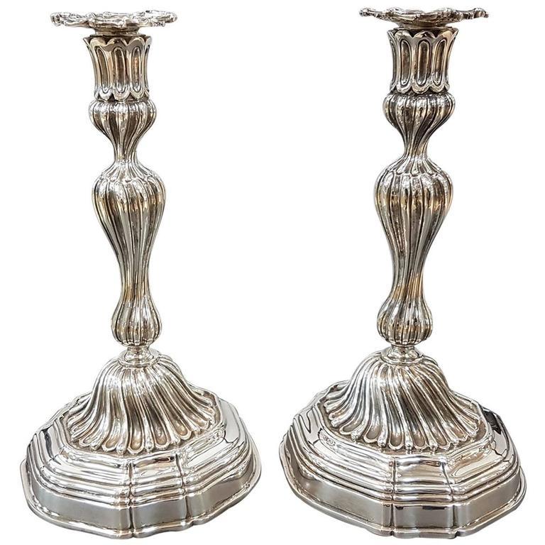 20th Century Sterling Silver Italian Candlesticks Baroque Barocco replica For Sale