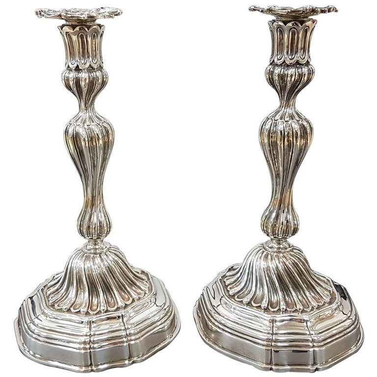 20th Century Sterling Silver Italian Candlesticks Baroque Barocco replica For Sale