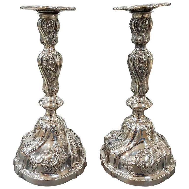 20th Century Pair of Italian Silver Candlesticks Torretta fron Genoa revival For Sale