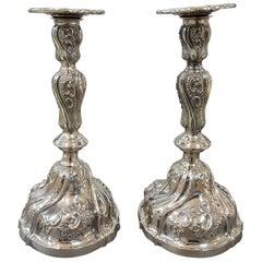 20th Century Pair of Italian Silver Candlesticks Torretta fron Genoa revival