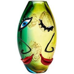 Abstract Murano Glass Face Vase Signed Mario Badioli, circa 1980
