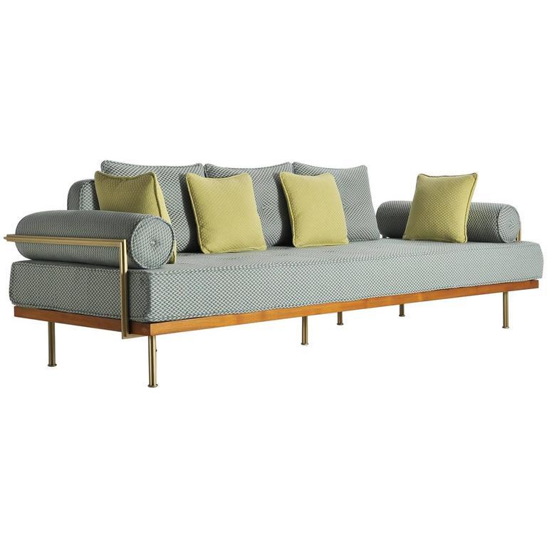Modern Style Sofa mid-century modern style sofa, reclaimed teak, brass frames,p