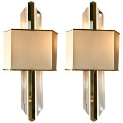 Pair of Sconces Lucite and Brass, 1980s