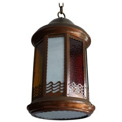 Arts and Crafts Copper and Byzantine Glass Pendant Light / Unique Hall Lantern