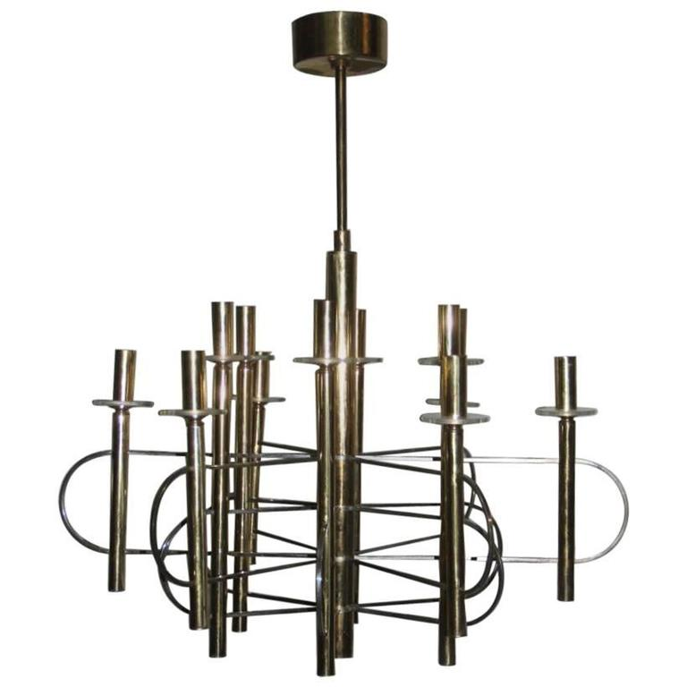 Sculptural Sciolari Chandelier Italian, Design 1970 For Sale