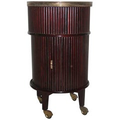 Bar Trolley Swivel  Italian Design, 1960 Mahogany Woos Round Brass Midcentury