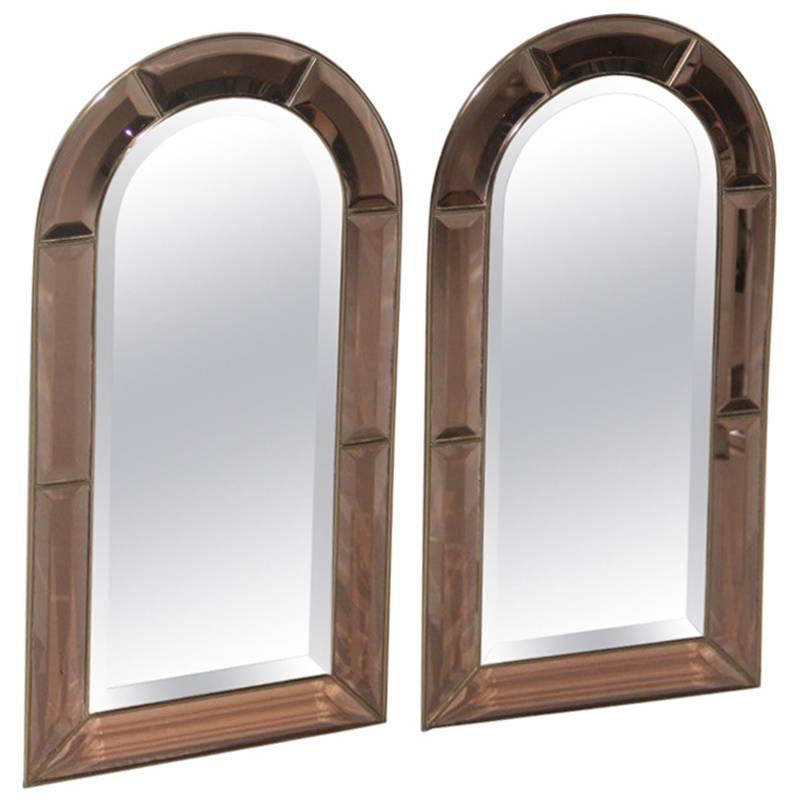 Pair of Special Brass Mirrors, 1970s