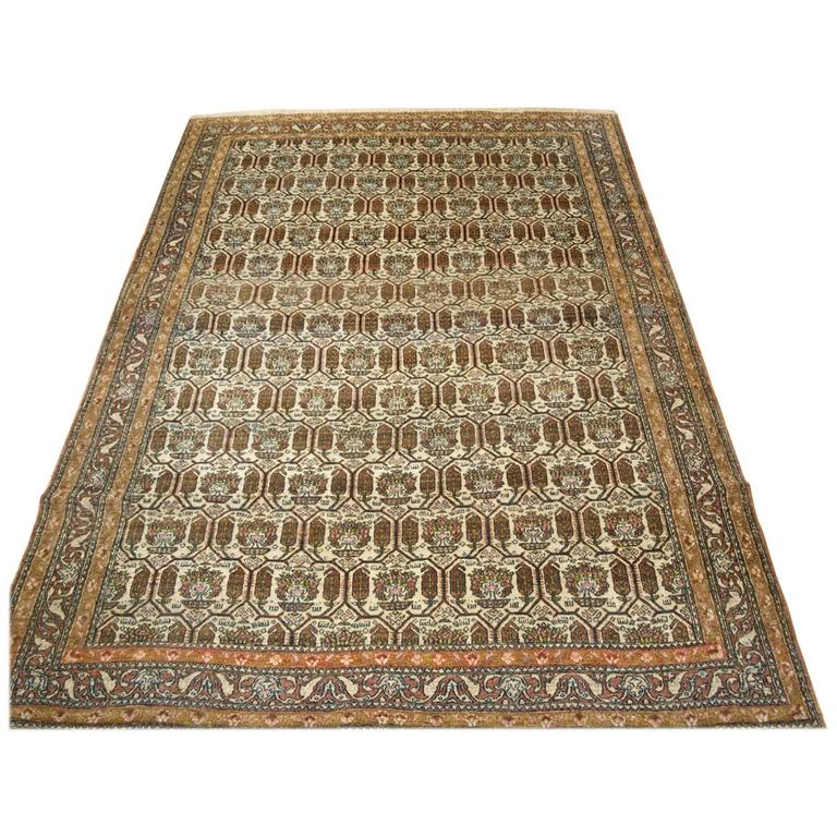 Antique Isfahan Rug with an Interesting All over Repeat Design, circa 1910