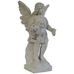 19th Century French Carved Carrara Marble Angel