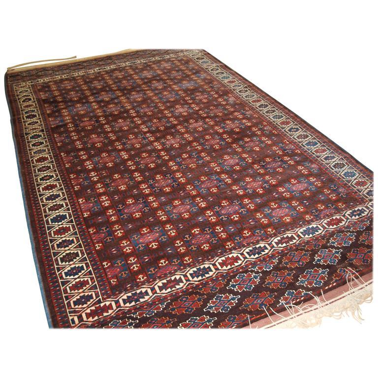 Antique Yomut Turkmen Main Carpet with the 'Kepse' Gul Design, circa 1900