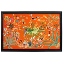 Large 1950s Appliqué Embroidery of Birds, Flowers & Animals on Orange Background