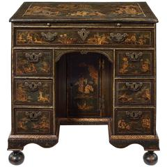 George I Green Japanned Kneehole Desk in the Manner of John Belchier