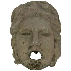 18th Century French Carved Stone Fountain Head