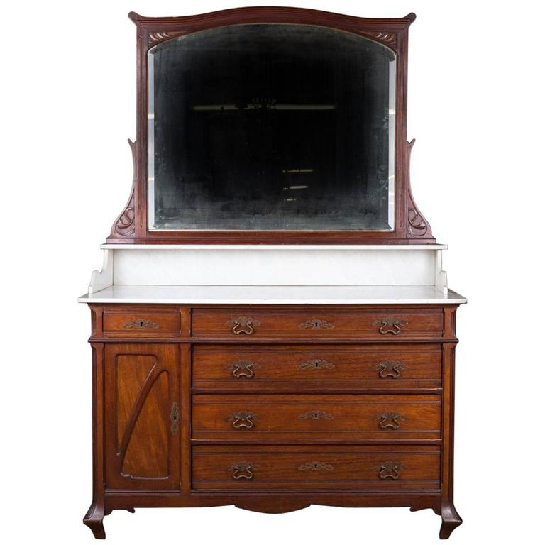 19th century mirror commode in the art nouveau style mahogany veneer on oak at 1stdibs. Black Bedroom Furniture Sets. Home Design Ideas