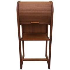 1960s Danish Teak Telephone Stand Laptop Desk with Roll-Top
