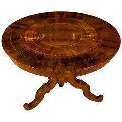 19th Century, South German Biedermeier Marquetry Table Walnut Root Veneer
