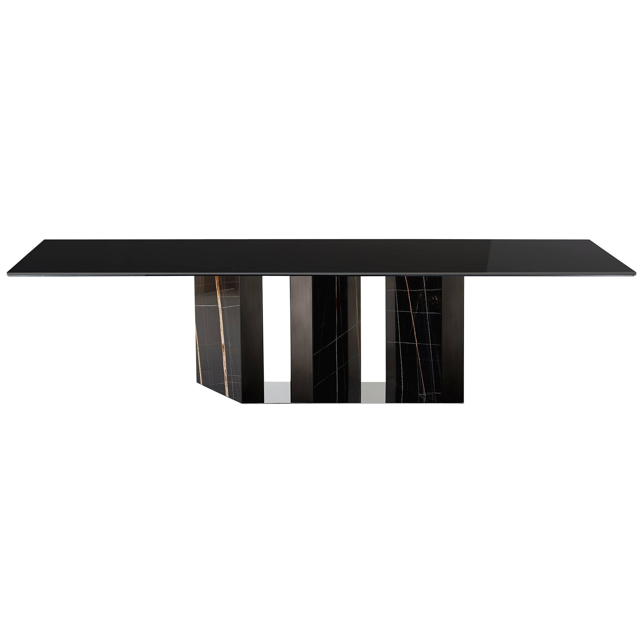 Platium Dining Table With Lacquered Gl Top And Marble Base For At 1stdibs