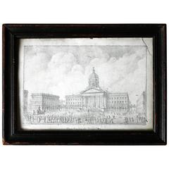Pencil Study of the Place Royale de Bruxelles, Rose-Joseph Lemercier circa 1830s