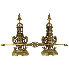 Pair of Brass Andirons with Lion Heads and Cross Bar