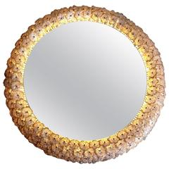 Beautiful Emil Stejnar Back Lit Mirror with Glass Flowers Surround
