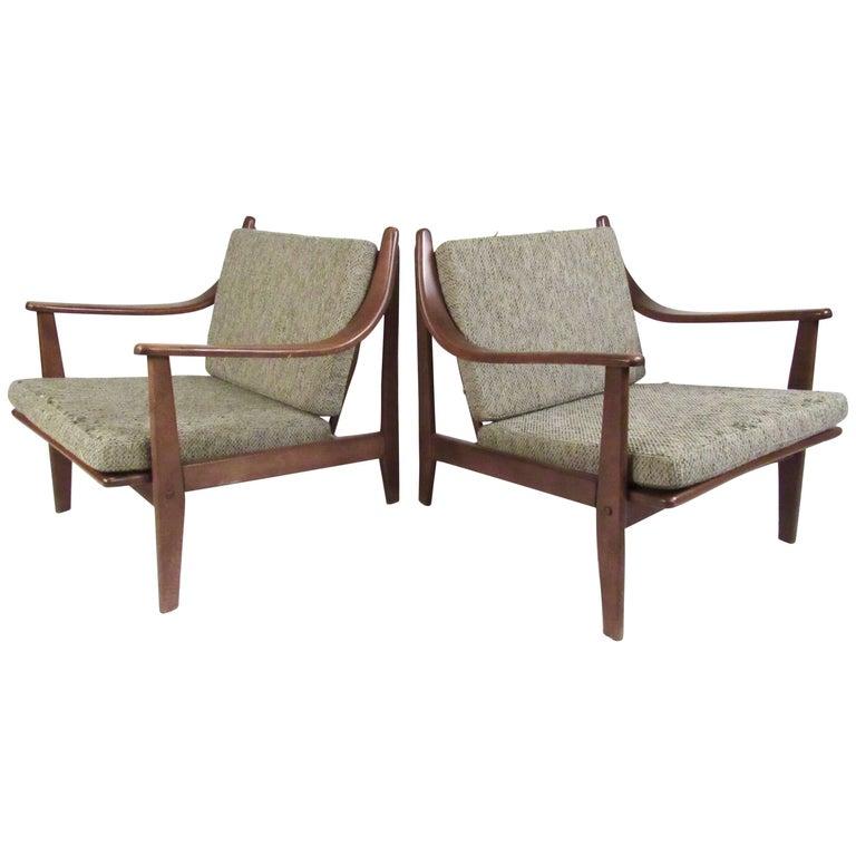 Pair of Mid-Century Finn Juhl Style Lounge Chairs