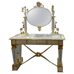 Contemporary Crystal Toilet Table, With Bronze Covered With 22-Carat Gold