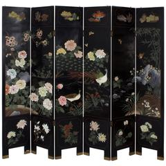 Mid-Century Six Panel Chinese Screen