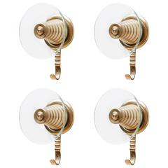 Set of Four Italian Brass and Glass Wall Mounted Coat Hooks