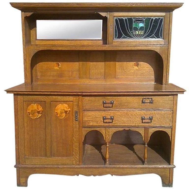 arts and crafts oak sideboard attributed to g m ellwood for sale at 1stdibs. Black Bedroom Furniture Sets. Home Design Ideas