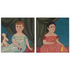 Pair of Primitive Folky Oil Paintings on Board of Children by Karl Mann