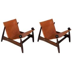 Pair of Lounge Chairs in Jacaranda Wood and Leather