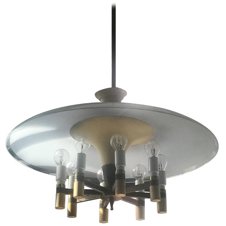 fontana arte chandelier in brass and glass italy 20th. Black Bedroom Furniture Sets. Home Design Ideas