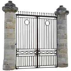 French Directoire Entrance Wrought Iron Gate with Stone Columns, 19th Century