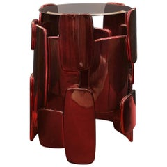 Brazero Side Table with Black and Red Glossy Varnished
