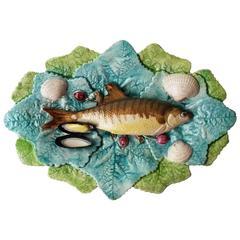 19th Century Majolica Palissy Wall Fish Platter Choisy Le Roi
