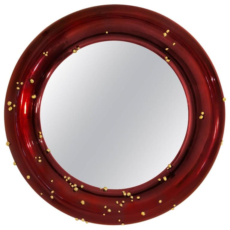 Red Mirror with Black and Red Glossy Varnished and Golded Snails For Sale