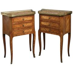 19th Century Pair of Louis XVI Style Bedside Cabinets