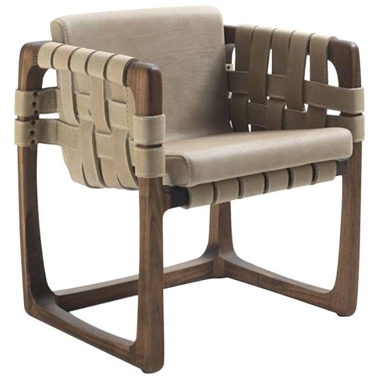 Webbing Chair Padded Seat in Nubuck Leather in solid walnut For Sale