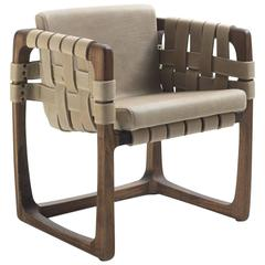Webbing Padded Dining Chair in Nubuck Leather in Solid Walnut Wood
