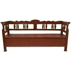 Painted Pine Storage Bench