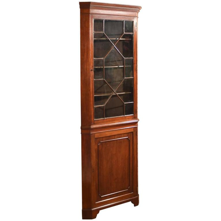 Edwardian Tall Glazed Antique Corner Cabinet, circa 1910 - Antique Edwardian Inlaid Mahogany Corner Cabinet For Sale At 1stdibs