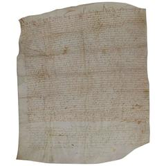 Large 17th Century French Vellum Handwriting