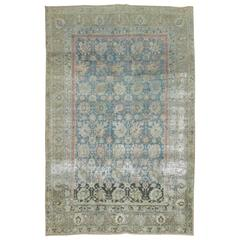 Distressed Antique Persian Tabriz Accent Size Rug