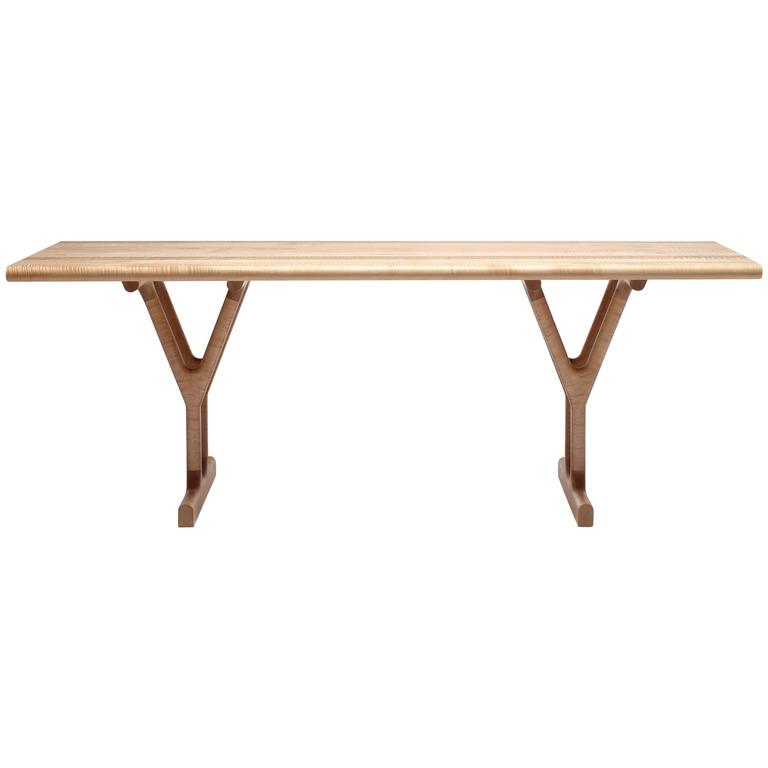 Slingshot Contemporary Dining Table with Trestle Legs in Solid Maple