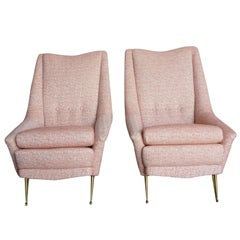 Mid-Century Modern Pair of Marco Zanusso Style Lounge Chairs
