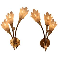 Pair of Mid-Century  Bronze and Opaline Glass Wall Sconces