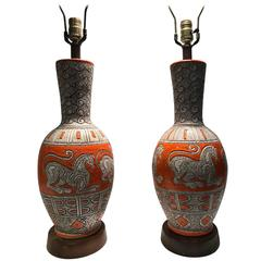 Pair of Mid-Century Italian Orange Glazed Ceramic Lamps with Chimera Decoration
