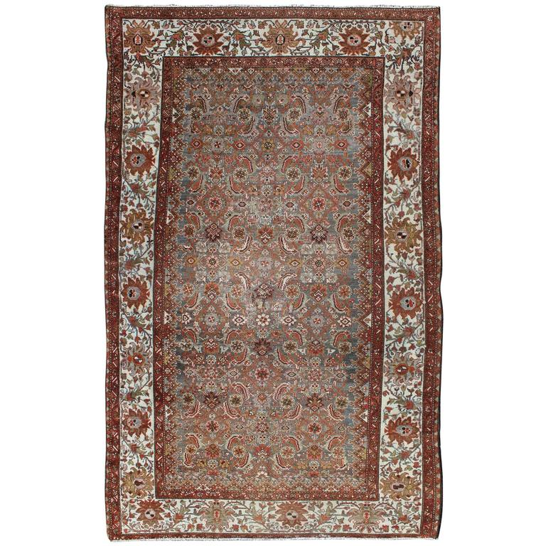 Antique Persian Malayer Rug With Gray Light Blue Red And