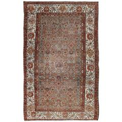 Antique Persian Malayer Rug with Gray, Light Blue, Red and Taupe