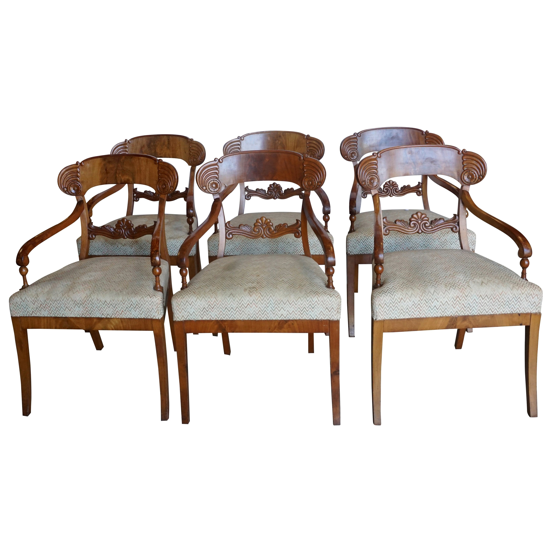 19th Century Karl Johan Dining Chairs, Swedish Set of Six Birchwood Armchairs